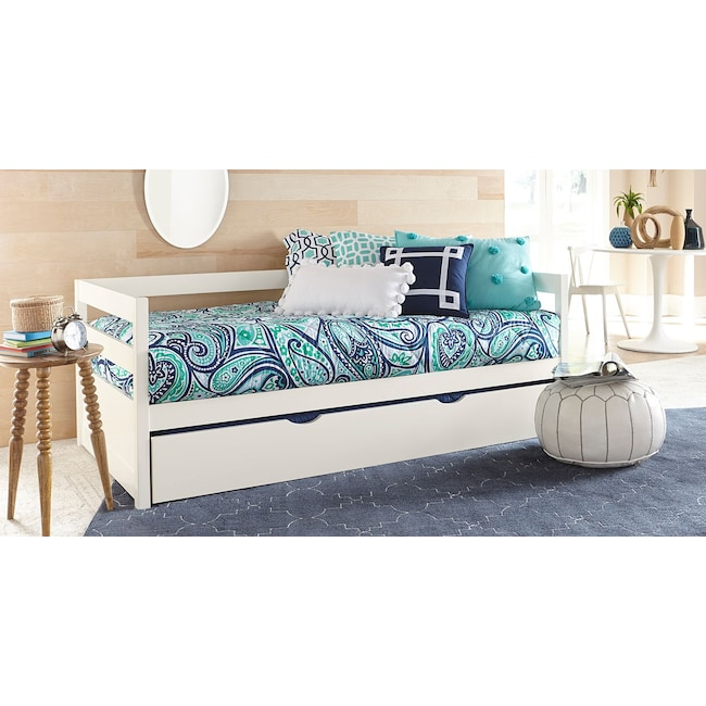 Kids Furniture - Hudson Twin Daybed with Twin Trundle - White