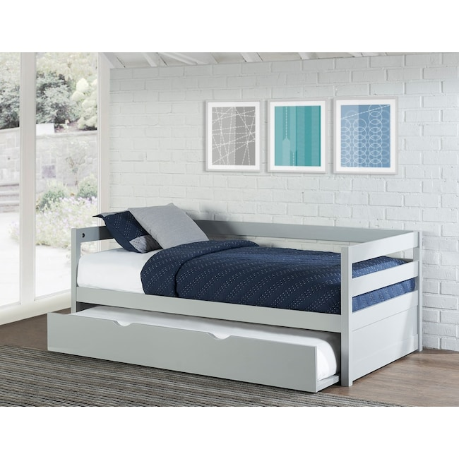 Kids Furniture - Hudson Twin Daybed with Twin Trundle - Gray