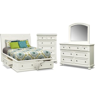 Hanover 6-Piece Queen Storage Bedroom Set with Chest - White