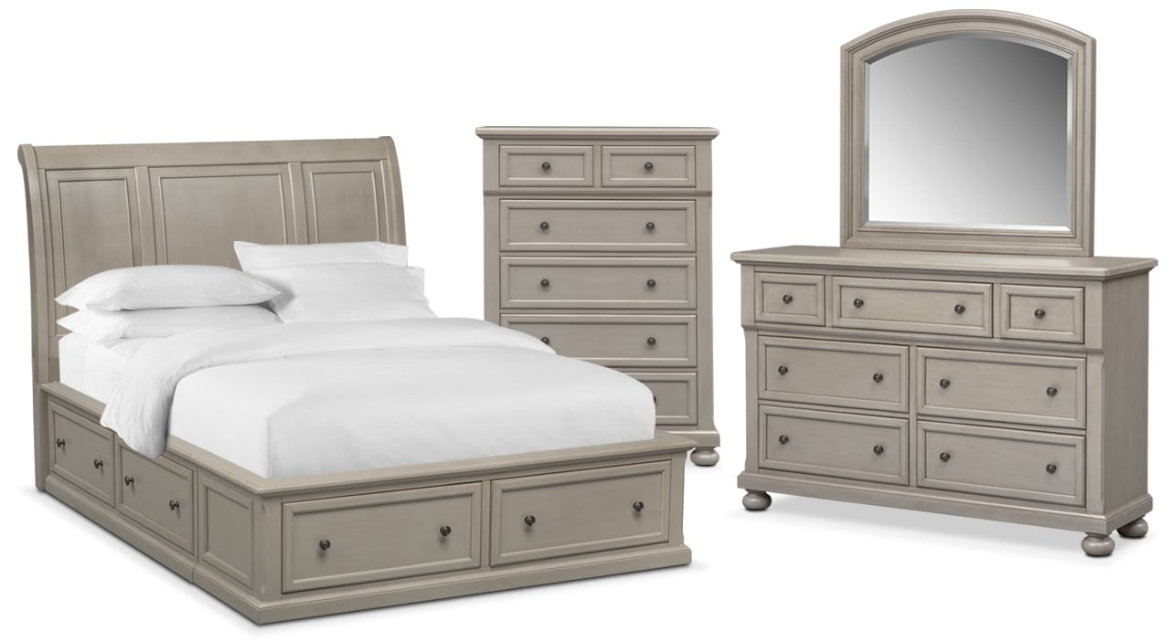 Bedroom Furniture - Hanover 6-Piece Storage Bedroom Set with Chest, Nightstand, Dresser and Mirror
