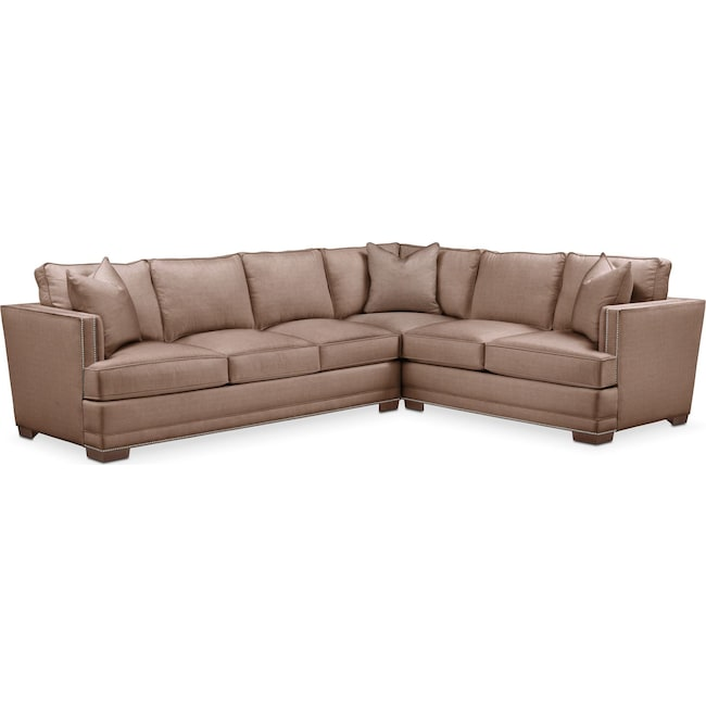Living Room Furniture - Arden 2 Pc. Sectional with Left Arm Facing Sofa- Comfort in Abington TW Antler