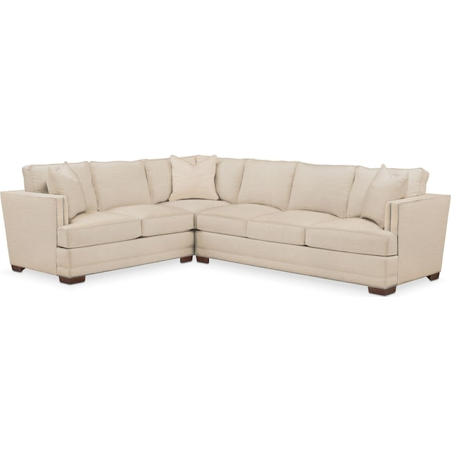 Living Room Furniture - Arden 2 Pc. Sectional with Right Arm Facing Sofa- Comfort in Victory Ivory