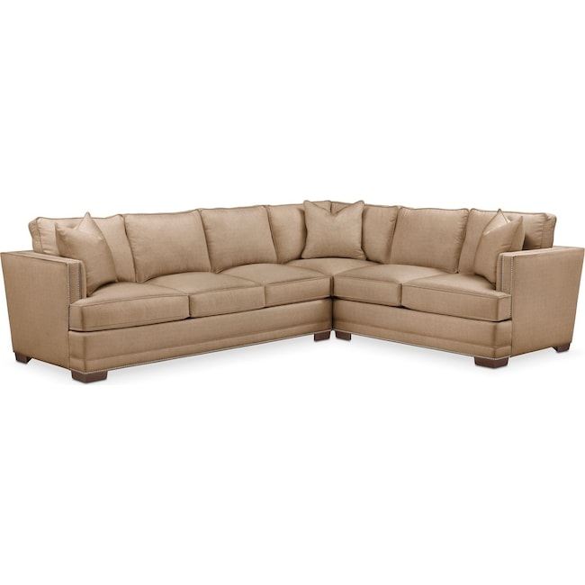 Living Room Furniture - Arden 2 Pc. Sectional with Left Arm Facing Sofa- Comfort in Hugo Camel