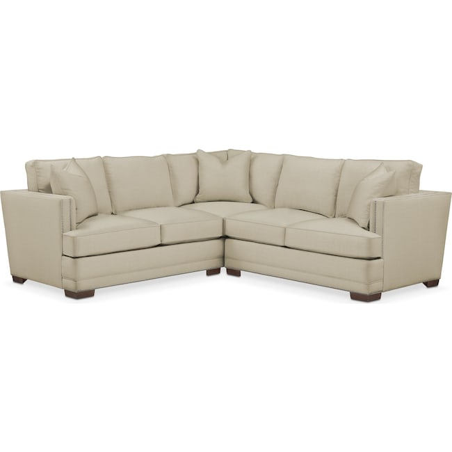 Living Room Furniture - Arden 2 Pc. Sectional with Right Arm Facing Loveseat- Comfort in Abington TW Barley