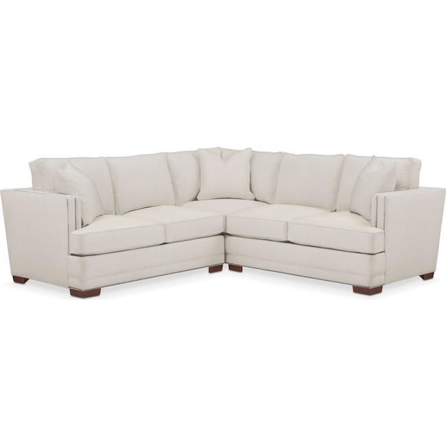 Living Room Furniture - Arden 2 Pc. Sectional with Left Arm Facing Loveseat- Comfort in Anders Ivory