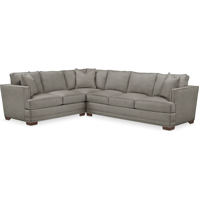 Living Room Furniture - Arden 2 Pc. Sectional with Right Arm Facing Sofa- Comfort in Victory Smoke