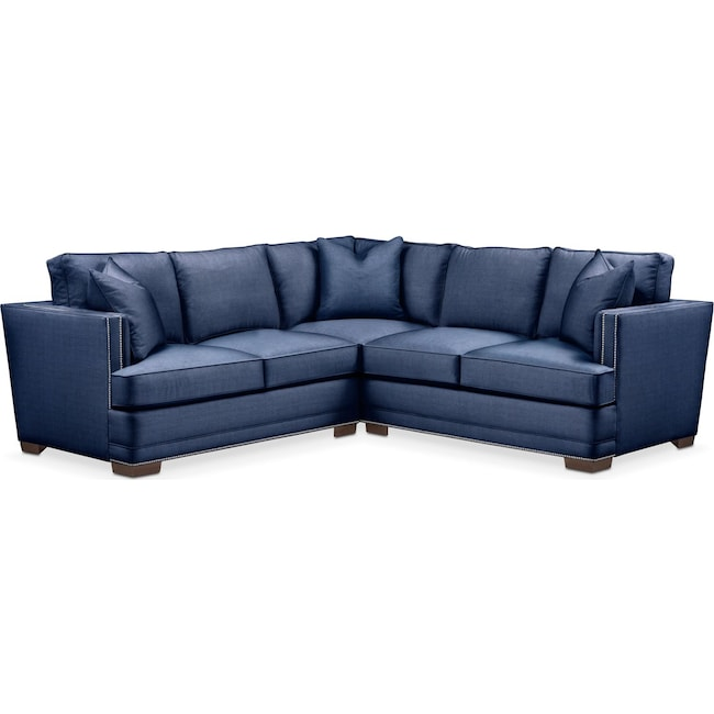 Living Room Furniture - Arden 2 Pc. Sectional with Left Arm Facing Loveseat- Comfort in Abington TW Indigo