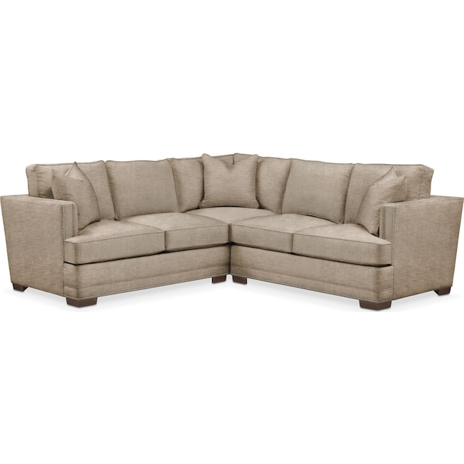 Living Room Furniture - Arden 2 Pc. Sectional with Right Arm Facing Loveseat- Comfort in Dudley Burlap
