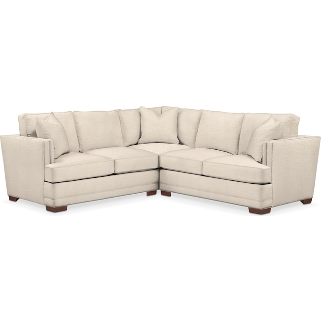 Living Room Furniture - Arden 2 Pc. Sectional with Right Arm Facing Loveseat- Comfort in Curious Pearl