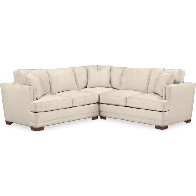 Living Room Furniture - Arden 2 Pc. Sectional with Left Arm Facing Loveseat- Comfort in Curious Pearl