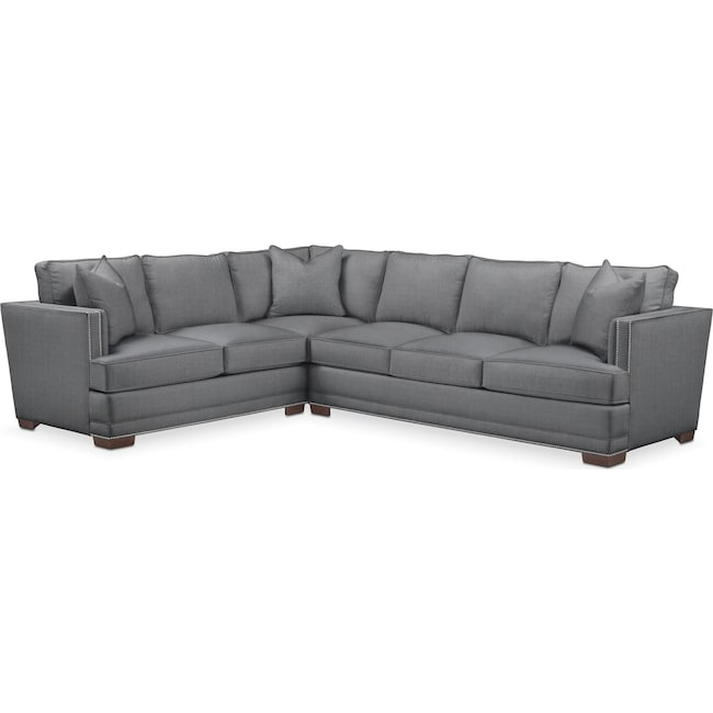 Living Room Furniture - Arden 2 Pc. Sectional with Right Arm Facing Sofa- Comfort in Depalma Charcoal