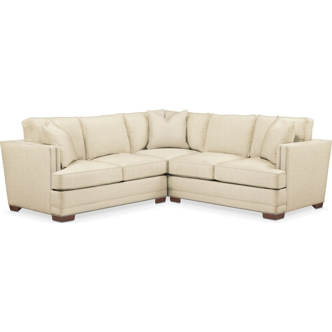 Living Room Furniture - Arden 2-Piece Sectional with Left-Facing Loveseat - Comfort in Anders Cloud