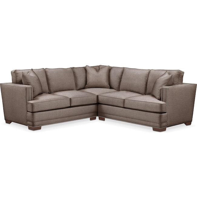 Living Room Furniture - Arden 2-Piece Sectional with Right-Facing Loveseat - Comfort in Hugo Mocha