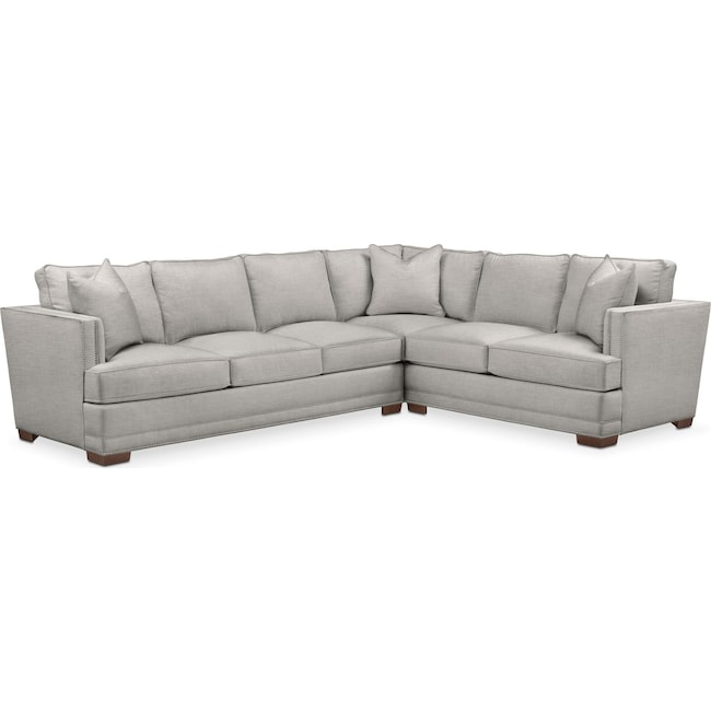 Living Room Furniture - Arden 2 Pc. Sectional with Left Arm Facing Sofa- Comfort in Dudley Gray