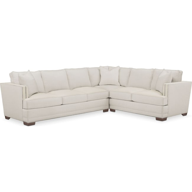 Living Room Furniture - Arden 2 Pc. Sectional with Left Arm Facing Sofa- Comfort in Anders Ivory
