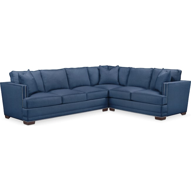 Living Room Furniture - Arden 2 Pc. Sectional with Left Arm Facing Sofa- Comfort in Hugo Indigo