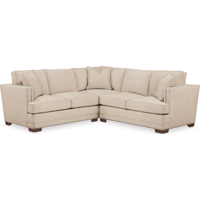 Living Room Furniture - Arden 2 Pc. Sectional with Right Arm Facing Loveseat- Comfort in Dudley Buff