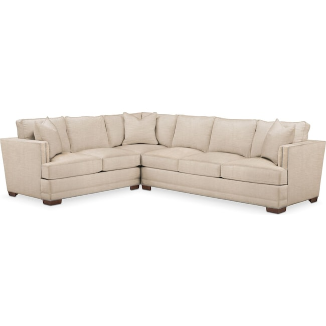 Living Room Furniture - Arden 2-Piece Sectional with Right-Facing Sofa - Comfort in Dudley Buff