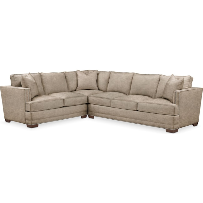 Living Room Furniture - Arden 2 Pc. Sectional with Right Arm Facing Sofa- Comfort in Dudley Burlap