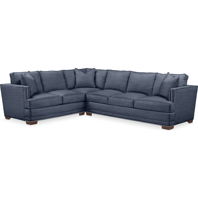 Living Room Furniture - Arden 2 Pc. Sectional with Right Arm Facing Sofa- Comfort in Curious Eclipse