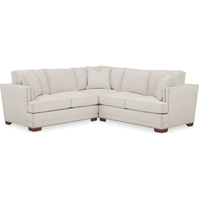 Living Room Furniture - Arden 2 Pc. Sectional with Right Arm Facing Loveseat- Comfort in Anders Ivory