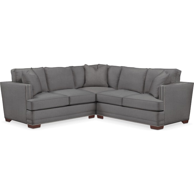 Living Room Furniture - Arden 2 Pc. Sectional with Right Arm Facing Loveseat- Comfort in Hugo Graphite
