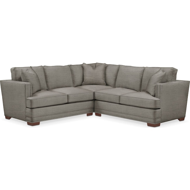 Living Room Furniture - Arden 2-Piece Sectional with Right-Facing Loveseat - Comfort in Victory Smoke