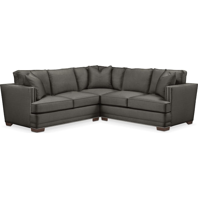 Living Room Furniture - Arden 2 Pc. Sectional with Right Arm Facing Loveseat- Comfort in Statley L Sterling