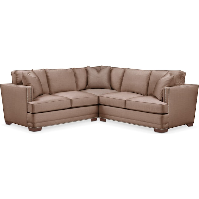 Living Room Furniture - Arden 2 Pc. Sectional with Right Arm Facing Loveseat- Comfort in Abington TW Antler