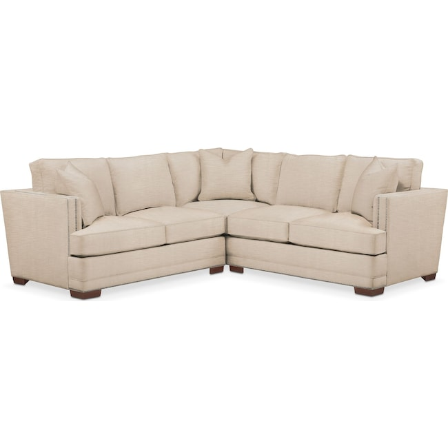 Living Room Furniture - Arden 2 Pc. Sectional with Left Arm Facing Loveseat- Comfort in Dudley Buff