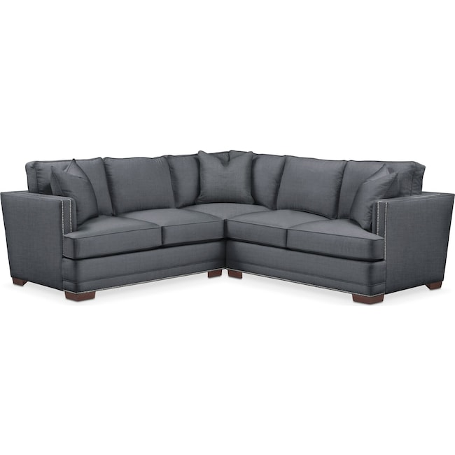 Living Room Furniture - Arden 2 Pc. Sectional with Right Arm Facing Loveseat- Comfort in Milford II Charcoal