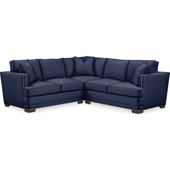 Living Room Furniture - Arden 2 Pc. Sectional with Right Arm Facing Loveseat- Comfort in Oakley III Ink