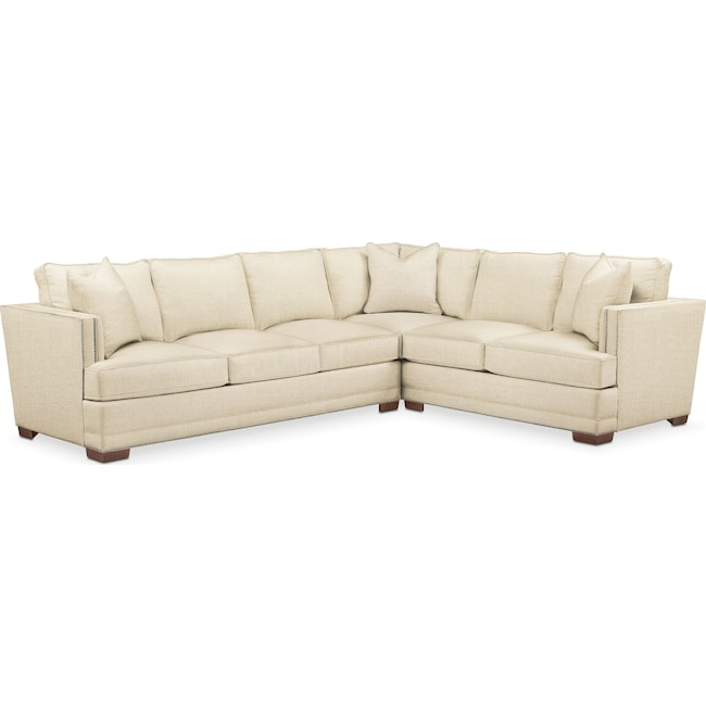 Living Room Furniture - Arden 2 Pc. Sectional with Left Arm Facing Sofa- Comfort in Anders Cloud