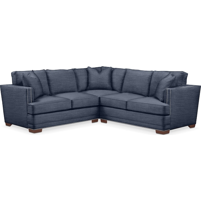 Living Room Furniture - Arden 2 Pc. Sectional with Right Arm Facing Loveseat- Comfort in Curious Eclipse