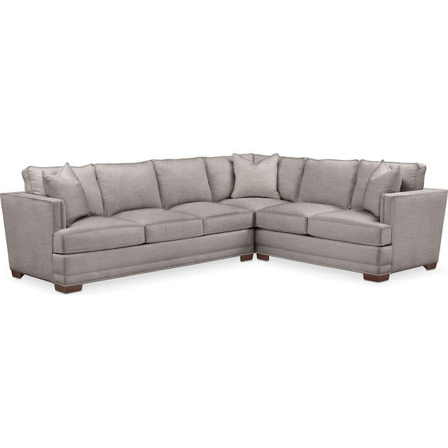 Living Room Furniture - Arden 2 Pc. Sectional with Left Arm Facing Sofa- Comfort in Curious Silver Rine