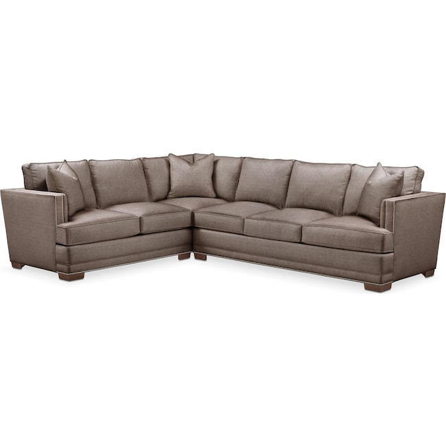 Living Room Furniture - Arden 2 Pc. Sectional with Right Arm Facing Sofa- Comfort in Hugo Mocha