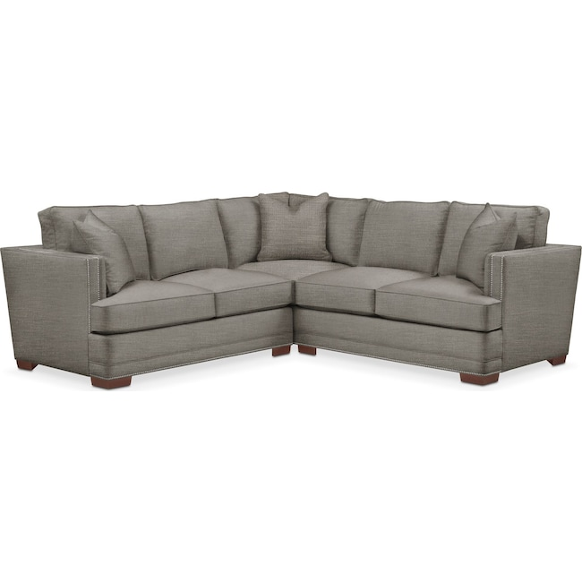 Living Room Furniture - Arden 2 Pc. Sectional with Left Arm Facing Loveseat- Comfort in Victory Smoke