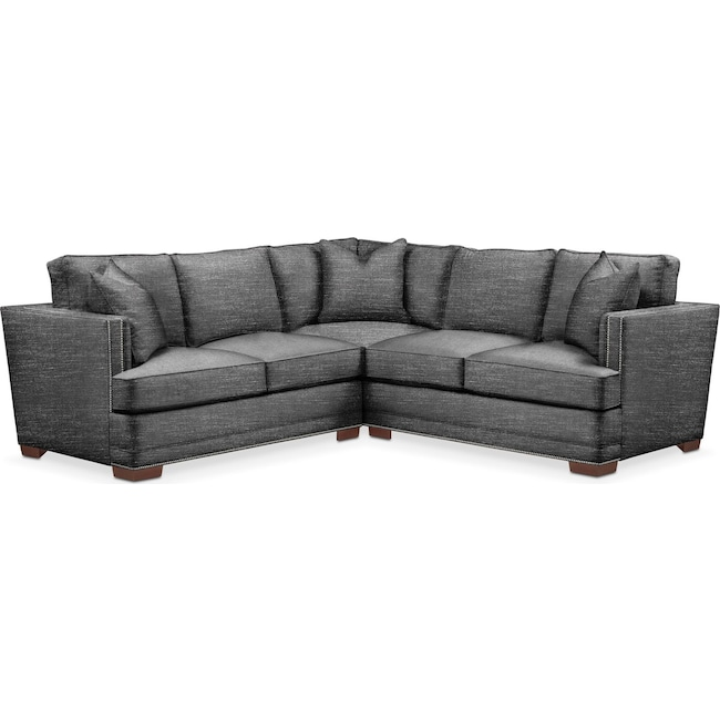 Living Room Furniture - Arden 2-Piece Sectional with Left-Facing Loveseat - Comfort in Curious Charcoal