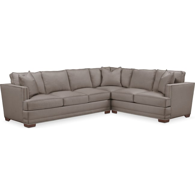 Living Room Furniture - Arden 2 Pc. Sectional with Left Arm Facing Sofa- Comfort in Oakley III Granite