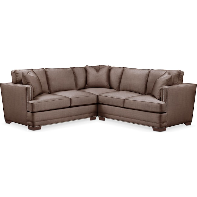 Living Room Furniture - Arden 2 Pc. Sectional with Right Arm Facing Loveseat- Comfort in Oakley III Java