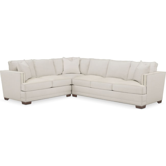 Living Room Furniture - Arden 2 Pc. Sectional with Right Arm Facing Sofa- Comfort in Anders Ivory