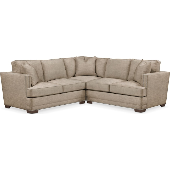 Living Room Furniture - Arden 2 Pc. Sectional with Left Arm Facing Loveseat- Comfort in Dudley Burlap