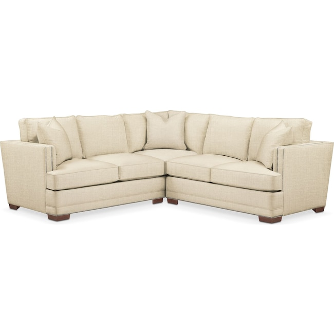 Living Room Furniture - Arden 2 Pc. Sectional with Right Arm Facing Loveseat- Comfort in Anders Cloud