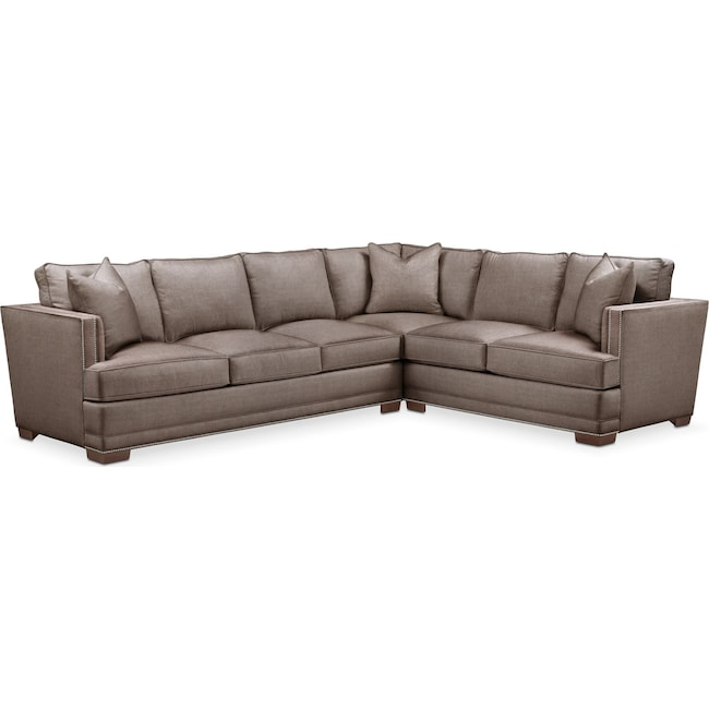 Living Room Furniture - Arden 2 Pc. Sectional with Left Arm Facing Sofa- Comfort in Hugo Mocha