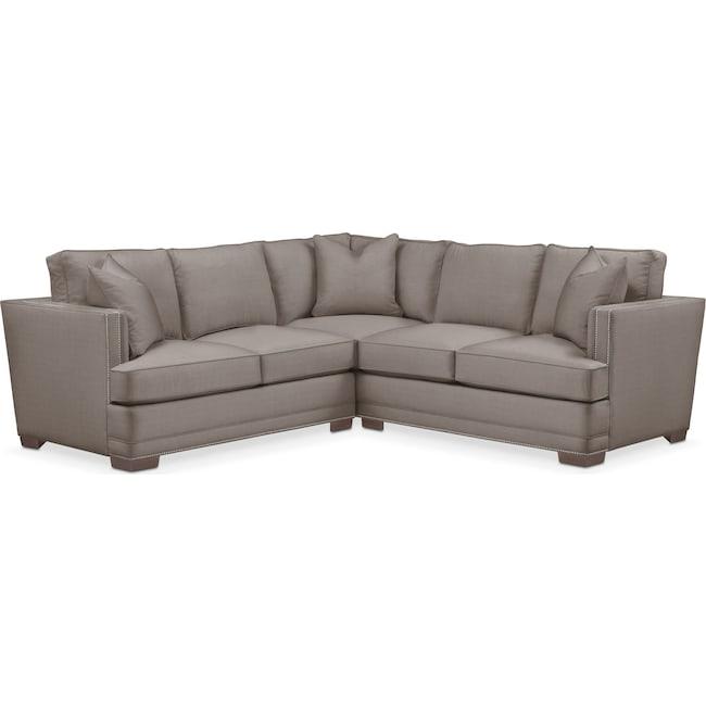 Living Room Furniture - Arden 2-Piece Sectional with Left-Facing Loveseat - Comfort in Oakley III Granite