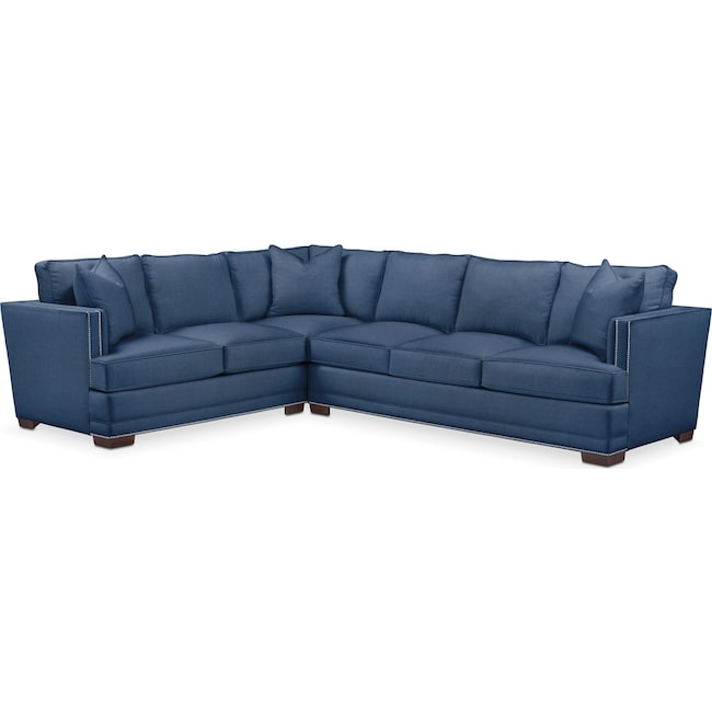 Living Room Furniture - Arden 2 Pc. Sectional with Right Arm Facing Sofa- Comfort in Hugo Indigo
