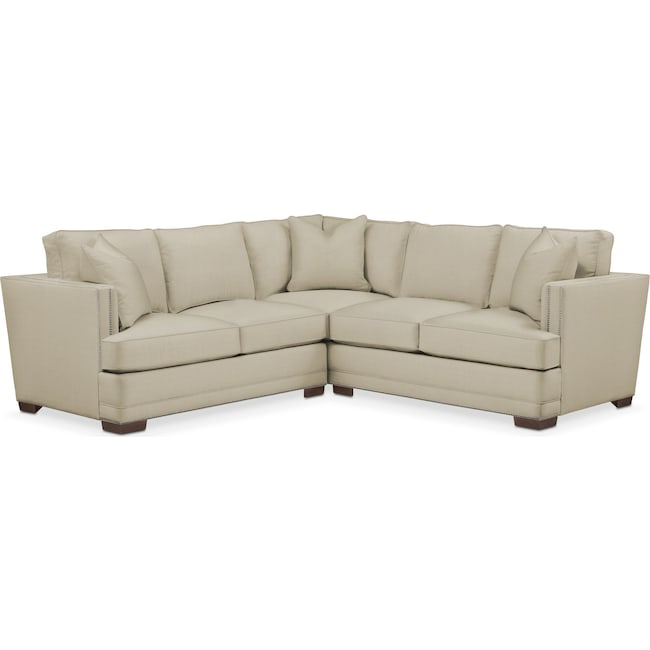 Living Room Furniture - Arden 2-Piece Sectional with Left-Facing Loveseat - Comfort in Abington TW Barley