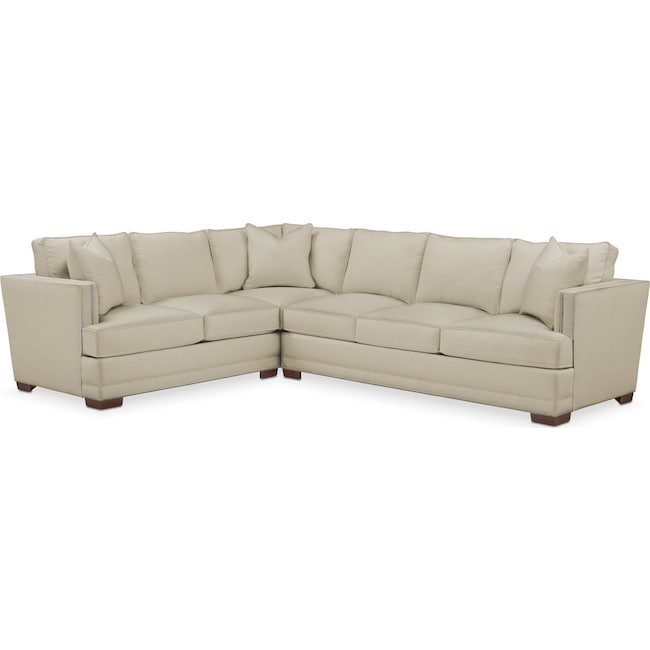 Living Room Furniture - Arden 2 Pc. Sectional with Right Arm Facing Sofa- Comfort in Abington TW Barley