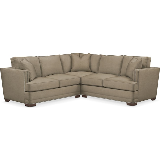 Living Room Furniture - Arden 2 Pc. Sectional with Right Arm Facing Loveseat- Comfort in Statley L Mondo