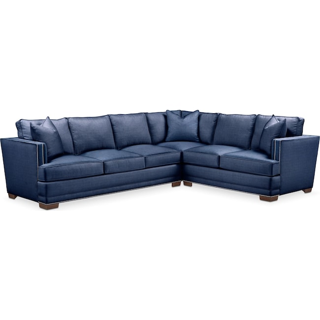 Living Room Furniture - Arden 2-Piece Sectional with Left-Facing Sofa - Comfort in Abington TW Indigo